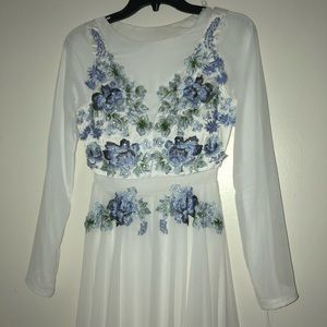 Beautiful white and blue floral prom dress